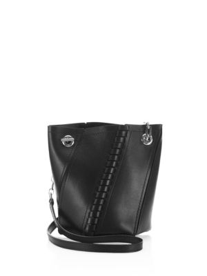 MINI HEX WHIPSTITCH LEATHER BUCKET BAG - BLACK
