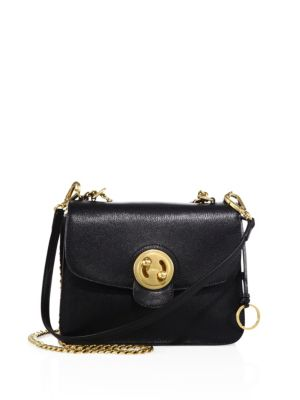 MILIE MEDIUM TURN-LOCK CHAIN SHOULDER BAG, BLACK