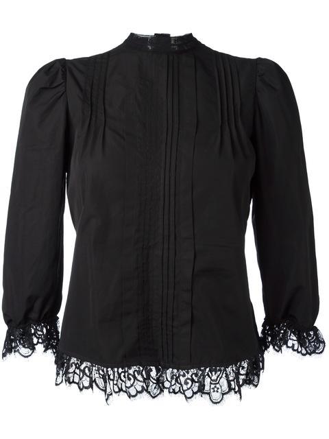 pleated bib blouse