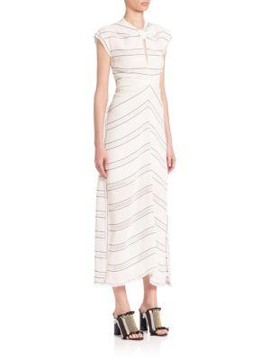 Proenza Schouler Silks Pinstriped Dress