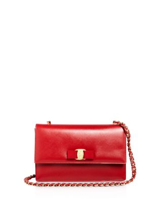 MEDIUM GINNY GRAINED LEATHER BOW SHOULDER BAG - RED