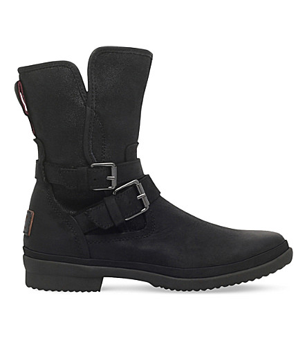 SIMMENS LEATHER & FELT SHEARLING-LINED BOOTS