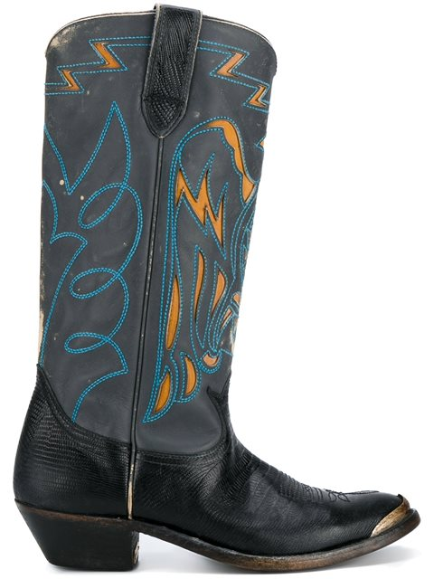 Golden Goose Leathers stitched Texan boots