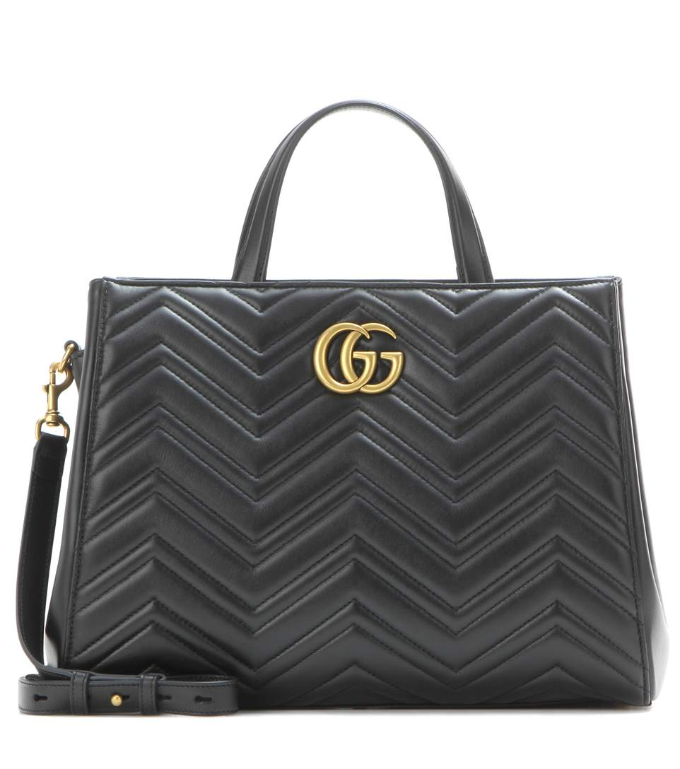 GG MARMONT MEDIUM MATELASSE LEATHER TOP HANDLE SHOULDER BAG - BLACK