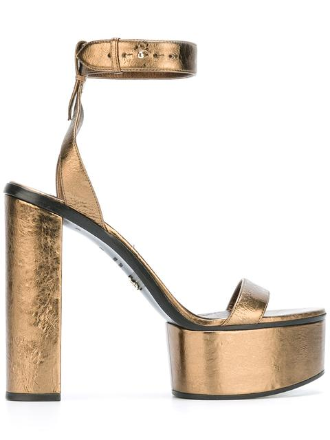 Ermanno Scervino Leathers ankle strap metallic sandals