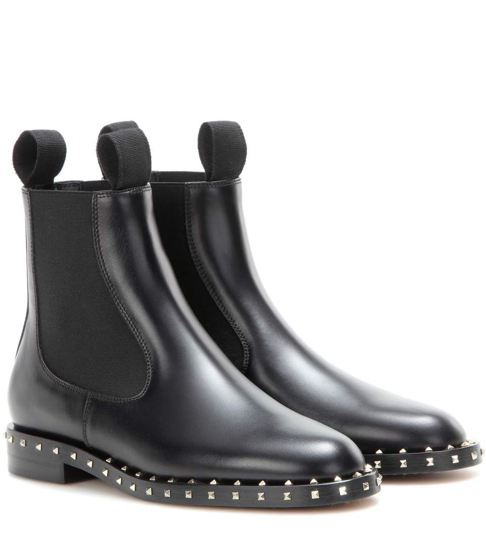 Valentino Leathers Embellished Chelsea boots