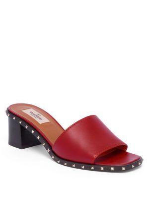 Valentino Leathers Soul Rockstud Leather Block-Heel Slides