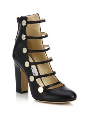 Jimmy Choo Leathers Venice 100 Strappy Leather Block-Heel Pumps