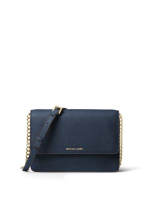 DANIELA LARGE SAFFIANO CROSSBODY BAG, BLACK