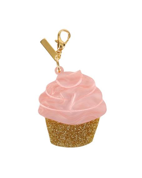Edie Parker Keychains GLITTERED CUPCAKE BAG CHARM, PINK