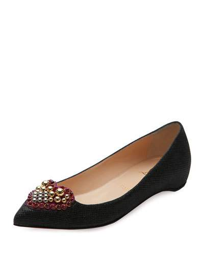 Christian Louboutin Leathers CORAMIA WOVEN RED SOLE SKIMMER, BLACK