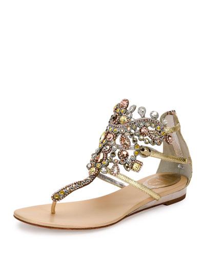 René Caovilla Crystals JEWEL-EMBELLISHED FLAT THONG SANDAL, PLATINUM/ROSE GOLD