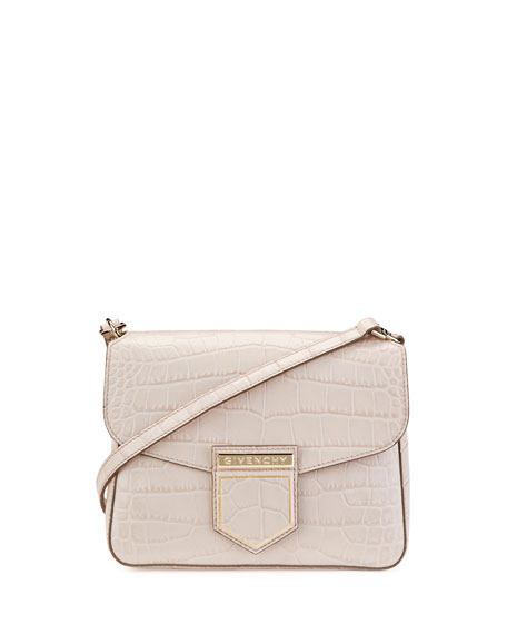 Givenchy Leathers NOBILE SMALL CROC-EMBOSSED SHOULDER BAG, NUDE, NUDE PINK
