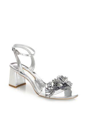 Sophia Webster Leathers Lilico Floral-Embellished Metallic Leather Block-Heel Sandals