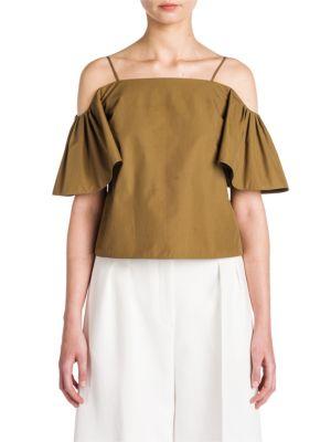 Fendi Cottons Off-The-Shoulder Cotton Taffeta Blouse