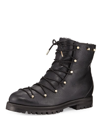 Jimmy Choo Leathers DRAKE SHEARLING-LINED LEATHER BOOT, BLACK