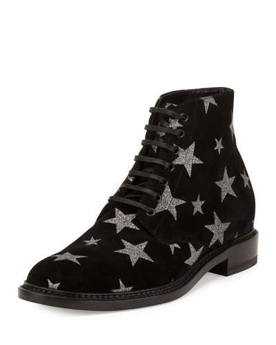 LOLITA 20 LACE-UP BOOT IN BLACK SUEDE AND SILVER GLITTER