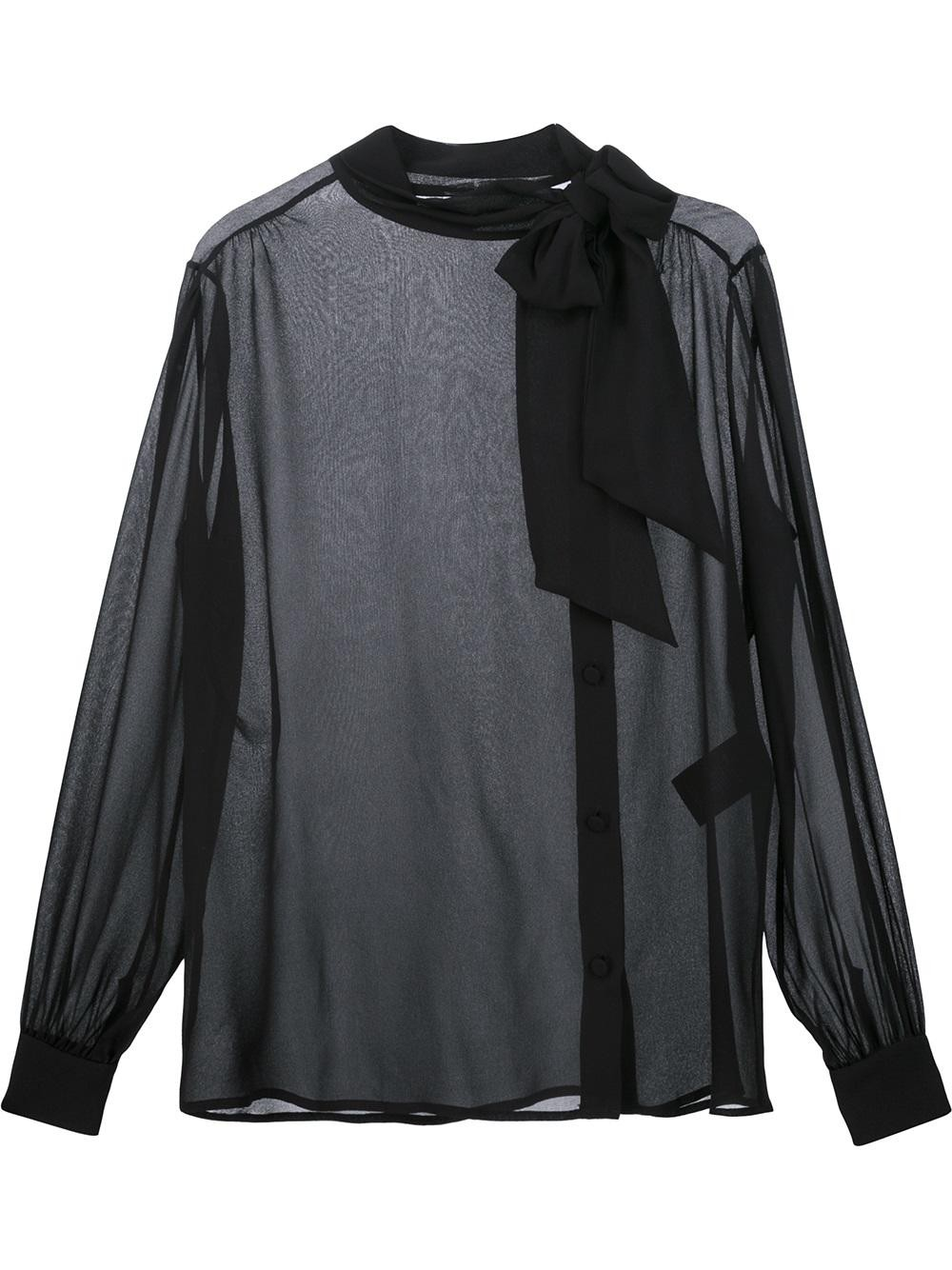 pussybow sheer blouse