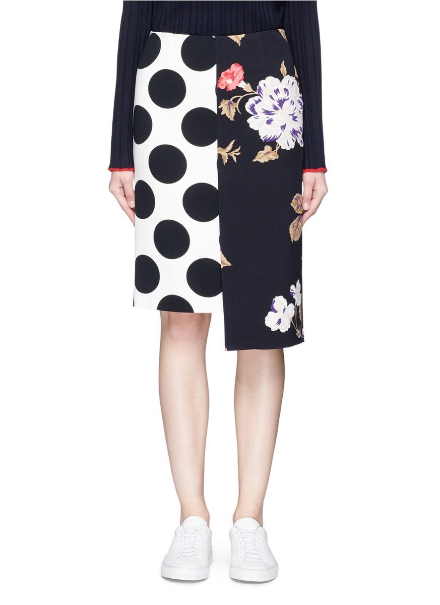Msgm Linings Polka dot and rose print crepe skirt