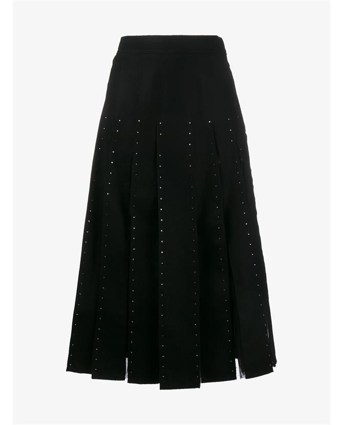 Valentino Wools Crystal Embellished Pleated Virgin Wool Skirt