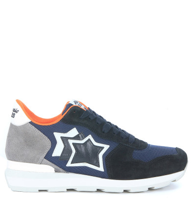 Atlantic Stars Leathers Sneaker Atlantic Stars Antares In Suede Leather, Blue And Grey Fabric