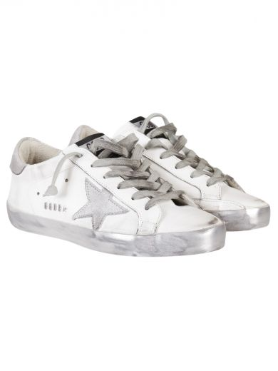 White Silver Metal Superstar Low Sneakers