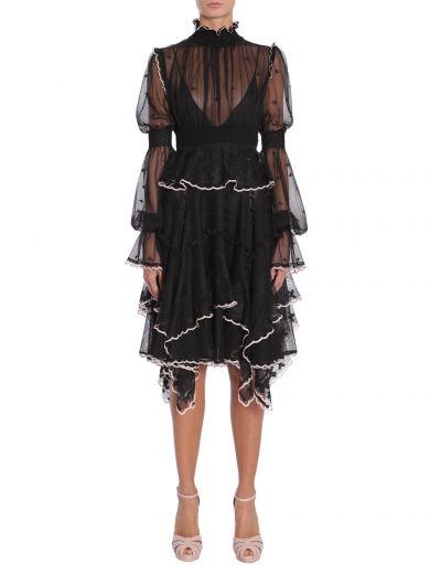 Alexander Mcqueen Silks Silk Tulle Dress