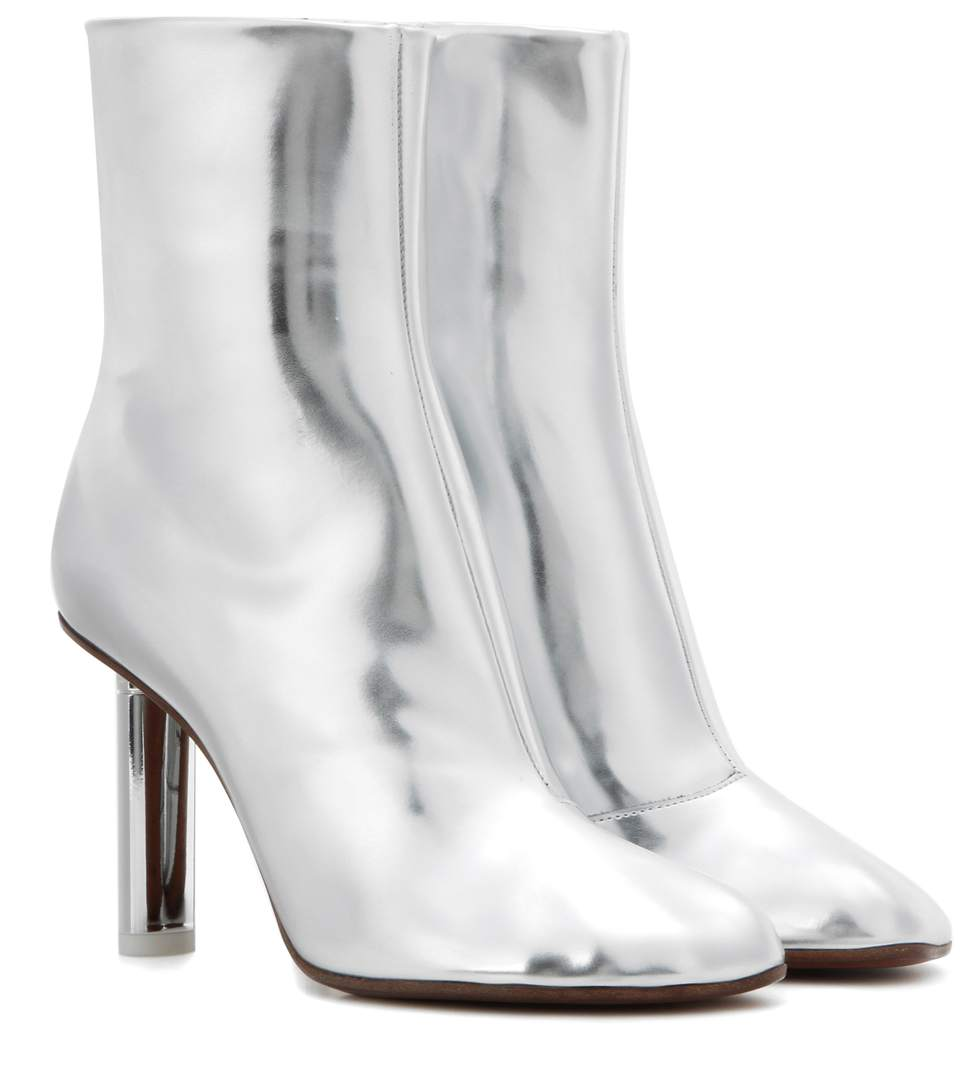 WOMAN METALLIC LEATHER ANKLE BOOTS SILVER