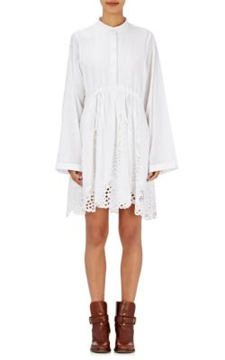 Chloé Cottons Cutwork-Embroidered Long-Sleeve Dress