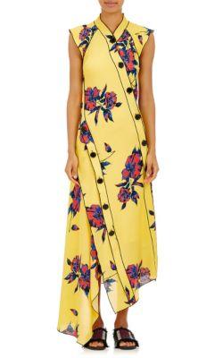 Proenza Schouler Silks Lily-Print Silk Asymmetric Dress