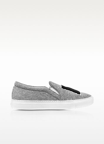 NY cotton slip-on platform trainers