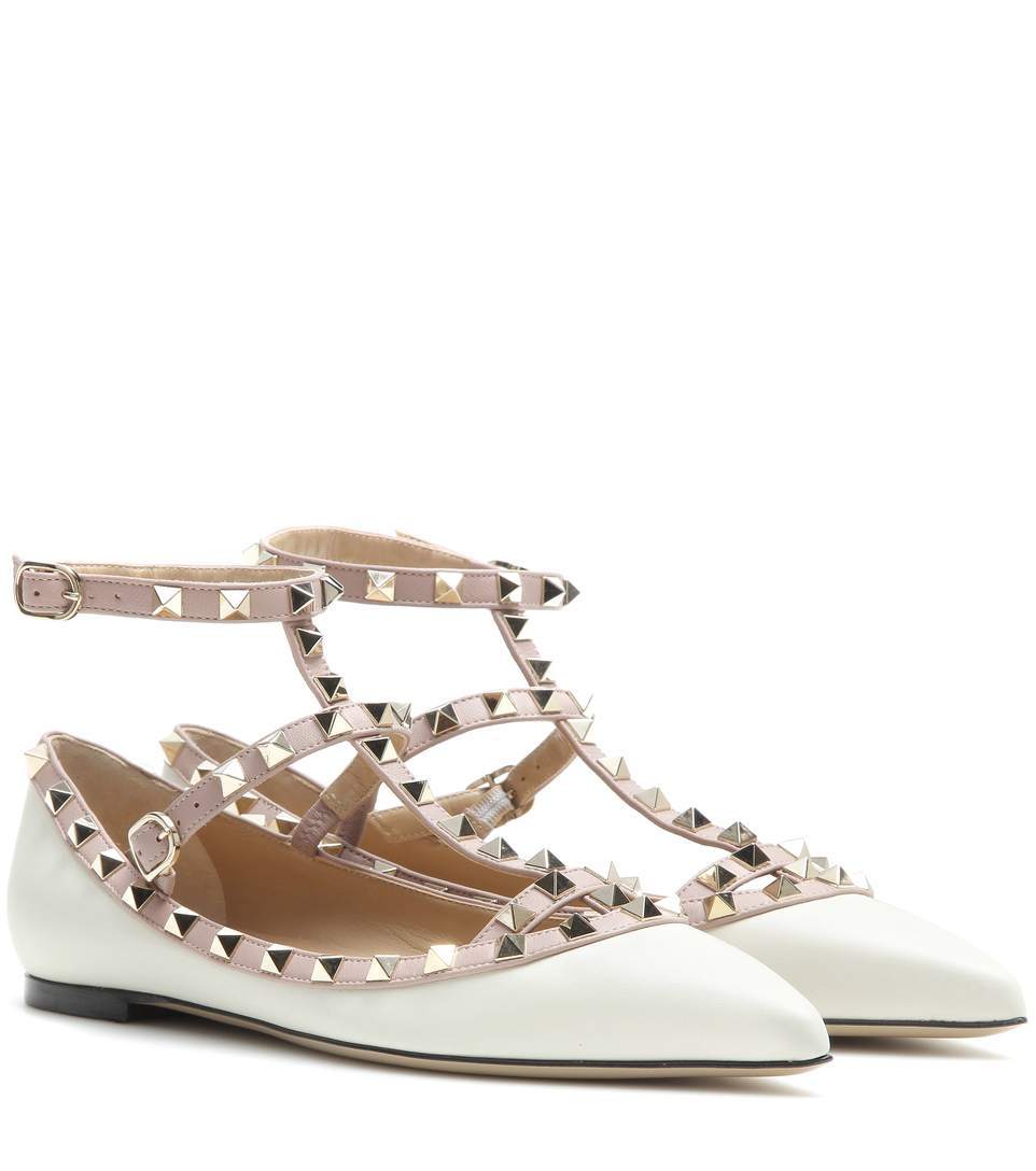 valentino rockstud patent caged ballerina flat ivory poudre in white modesens. Black Bedroom Furniture Sets. Home Design Ideas