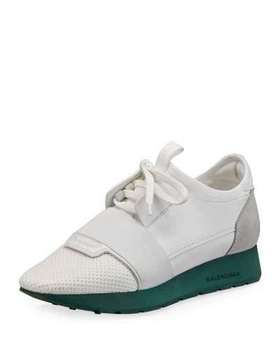 RACE RUNNER LEATHER, MESH, SUEDE AND NEOPRENE SNEAKERS