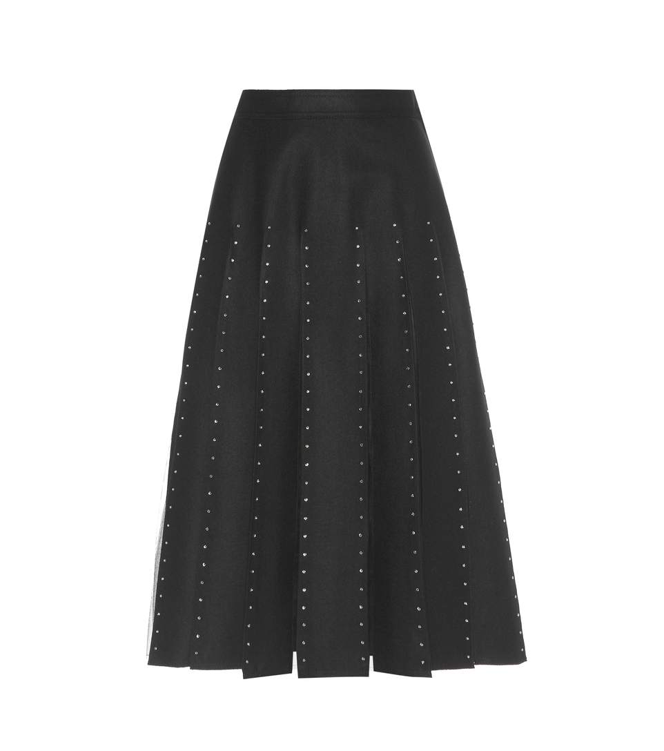 Valentino Wools EMBELLISHED WOOL AND SILK SKIRT