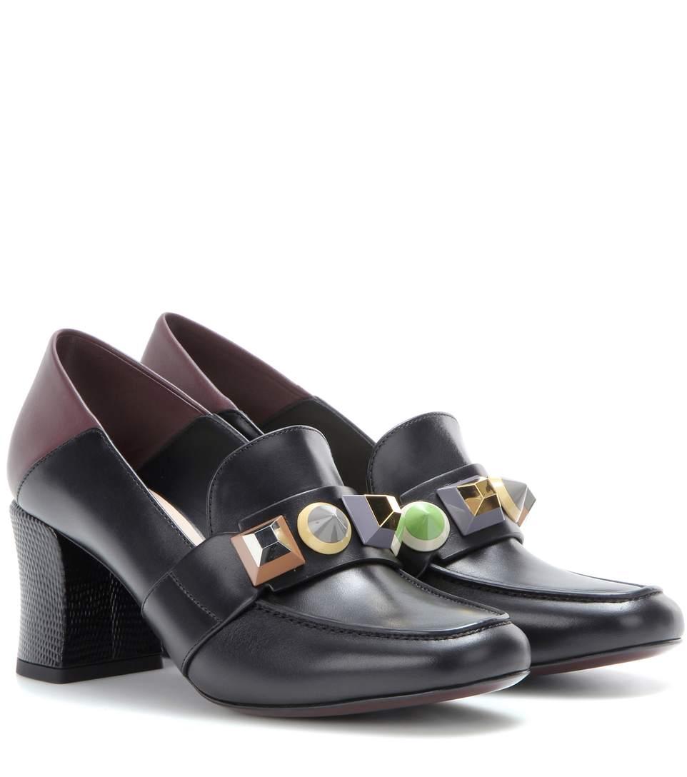 Fendi Leathers Embellished leather moccasins