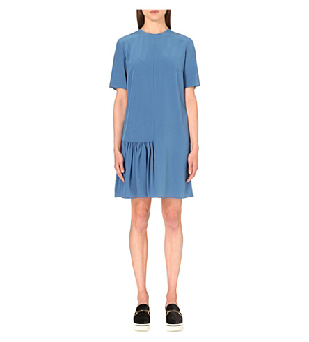 Silk Dress with Pleated Front