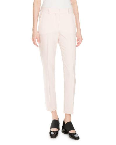 SKINNY CROPPED WOOL TROUSERS, LIGHT PINK