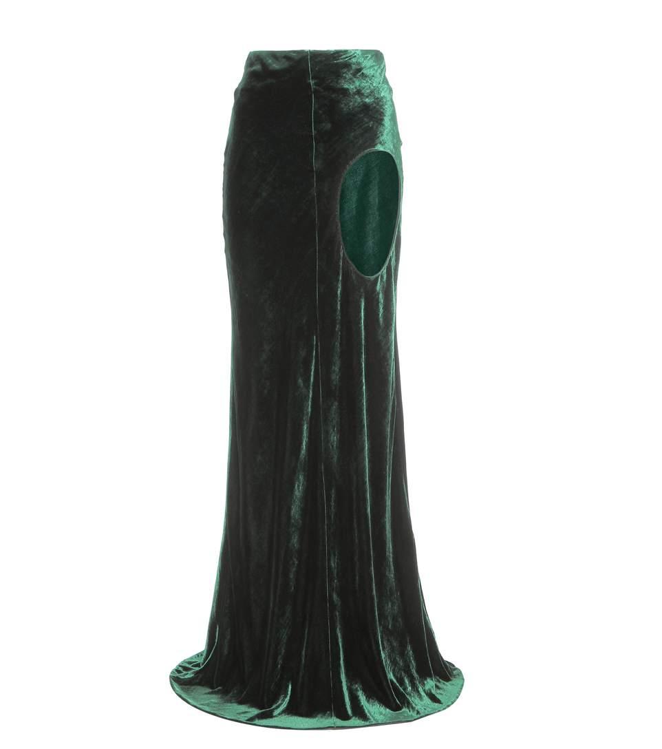 Haider Ackermann Silks Cut-out velvet maxi skirt