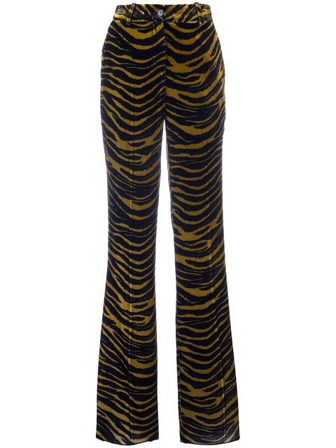 Roberto Cavalli Silks tiger print flared pants