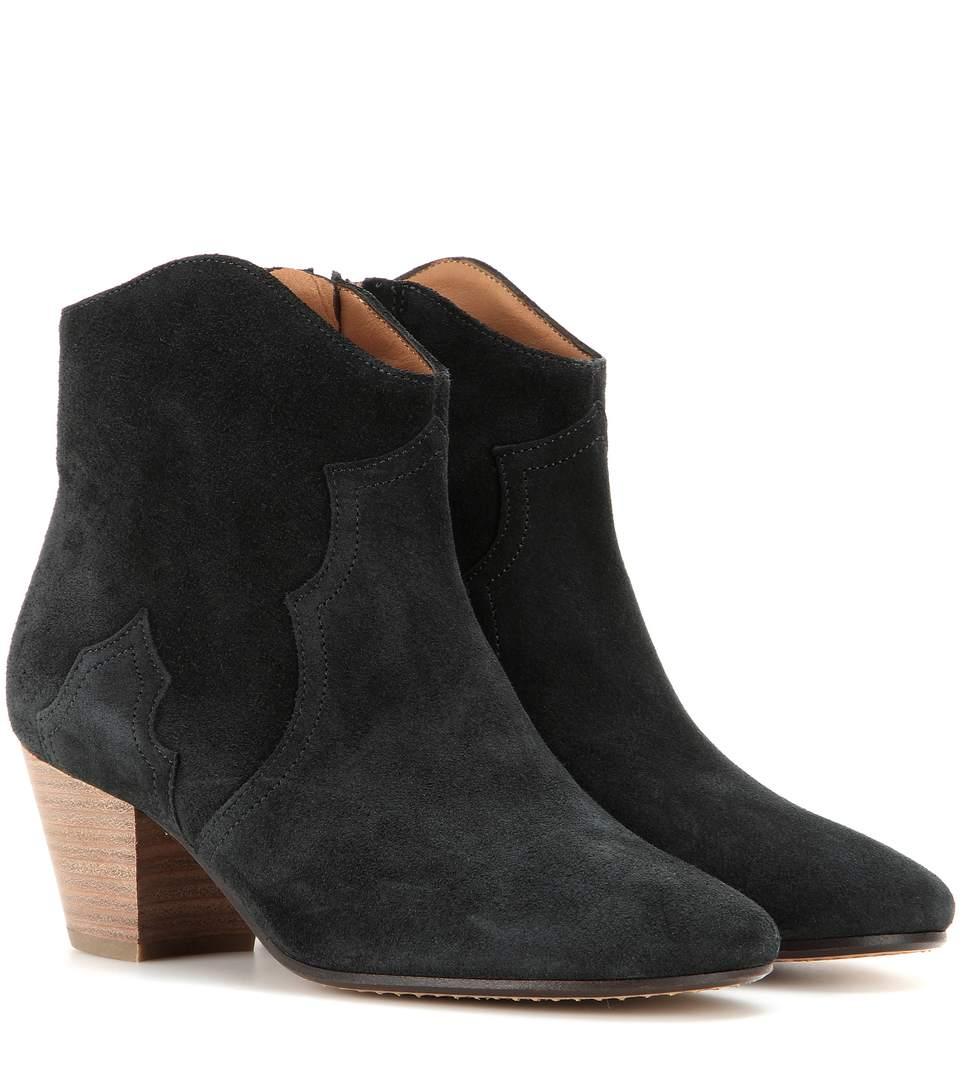 isabel marant etoile 50mm dicker suede ankle boots washed black modesens. Black Bedroom Furniture Sets. Home Design Ideas