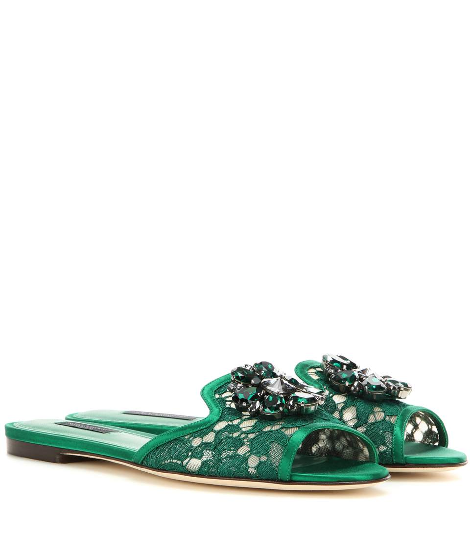 Dolce & Gabbana Floral Appliqué Slide Sandals Discount Shop For Clearance Get To Buy Real Cheap Best Seller Best Place Cheap Price xSaDkU4