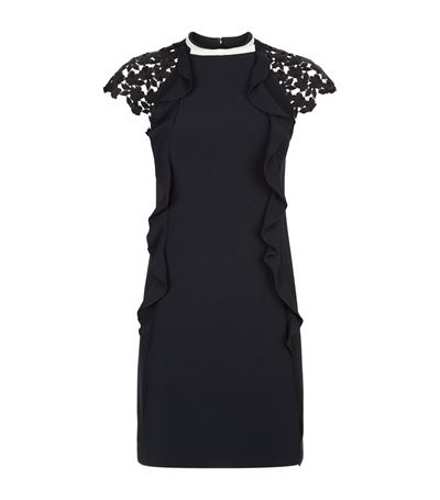 DRESS WITH RUFFLES AND LACE SLEEVES