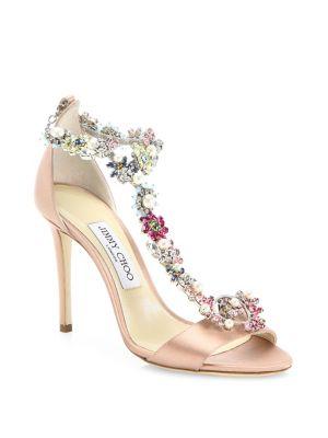 Jimmy Choo Crystals Reign 100 Crystal-Embellished Satin T-Strap Sandals