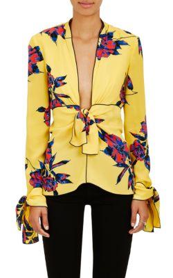 Proenza Schouler Silks Lily-Print Silk Blouse