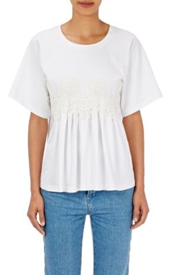 Chloé Downs Flower-Appliquéd Cotton T-Shirt
