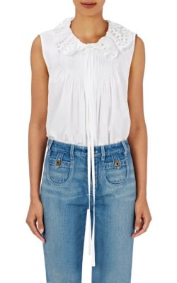 Chloé Cottons Cutwork-Embroidered Sleeveless Top