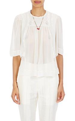 Maeva high-neck embroidered silk blouse