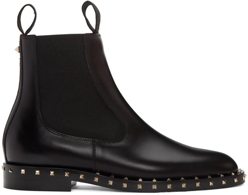 Valentino Leathers Black Soul Stud Chelsea Boots