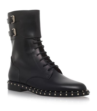 SOUL ROCKSTUD LEATHER MOTO BOOT, NERO/PLATINO