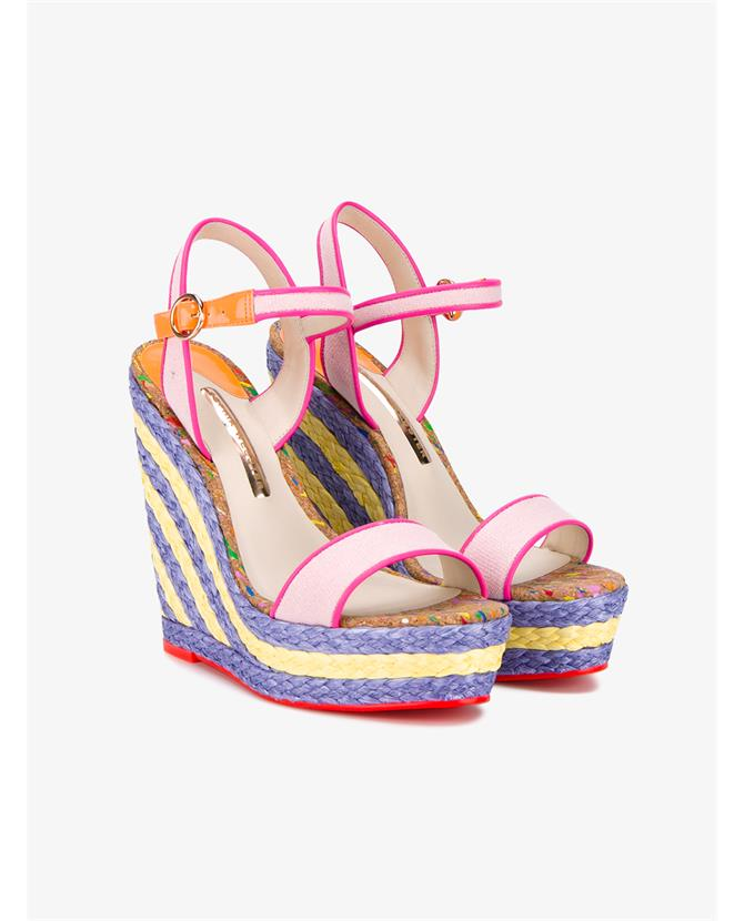 Sophia Webster Canvases Lucita Sand Woven Wedge Sandals